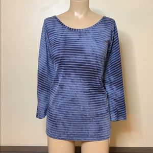 Lane Bryant Navy Stripe Lace Casual Back Top